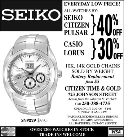 Seiko, Citizen, Pulsar 40% off